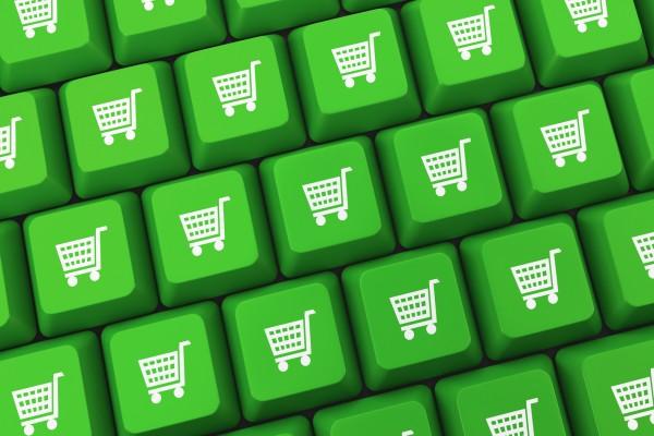 shopping  button key on white keyboard